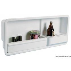 Niche latérale fourre-tout, avec deux porte-verres /canettes/ petites bouteilles.