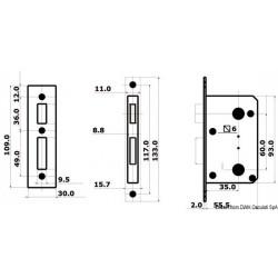 Avec blocage de l'intérieur et déblocage de secours de l'extérieur (pour WC et cabines)
