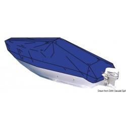 Bâche pour bateaux à plat-bord bas avec console de pilotage centrale