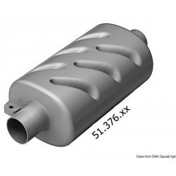 Pot d'échappement horizontal pour moteurs à refroidissement par eau