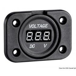 Voltmètre/ampèremètre numérique et prises de courant, montage par encastrement