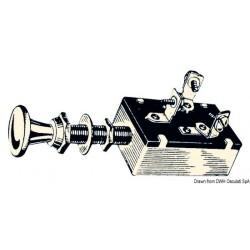 Interrupteur à 3 positions, tableau laiton chromé.